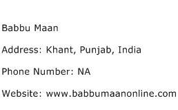 Babbu Maan Address Contact Number