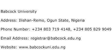 Babcock University Address Contact Number