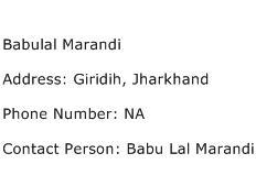Babulal Marandi Address Contact Number