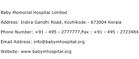 Baby Memorial Hospital Limited Address Contact Number