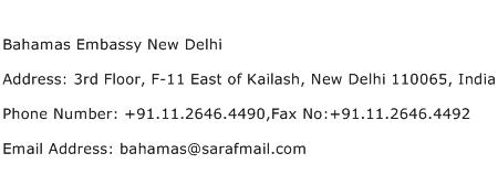 Bahamas Embassy New Delhi Address Contact Number