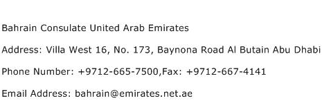 Bahrain Consulate United Arab Emirates Address Contact Number