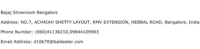 Bajaj Showroom Bangalore Address Contact Number