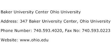 Baker University Center Ohio University Address Contact Number