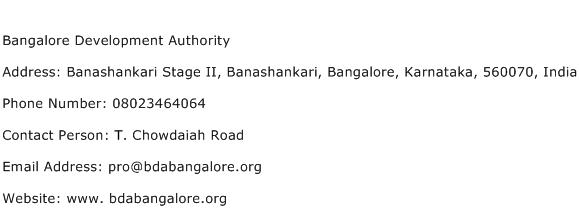 Bangalore Development Authority Address Contact Number