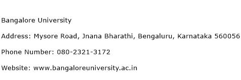 Bangalore University Address Contact Number