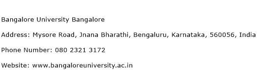 Bangalore University Bangalore Address Contact Number