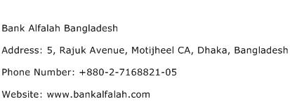 Bank Alfalah Bangladesh Address Contact Number