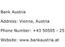 Bank Austria Address Contact Number