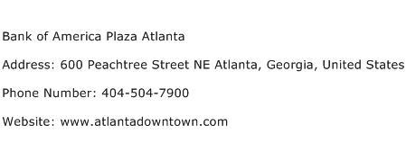 Bank of America Plaza Atlanta Address Contact Number