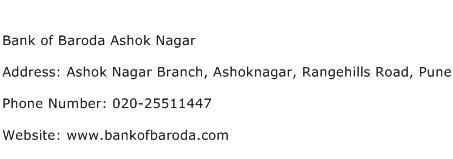 Bank of Baroda Ashok Nagar Address Contact Number