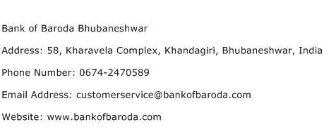 Bank of Baroda Bhubaneshwar Address Contact Number