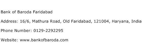 Bank of Baroda Faridabad Address Contact Number