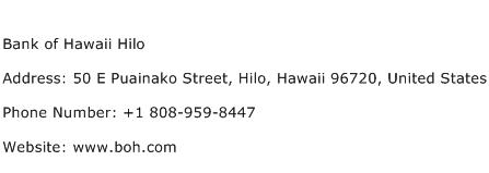 Bank of Hawaii Hilo Address Contact Number