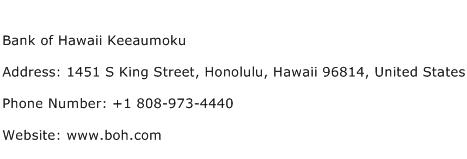 Bank of Hawaii Keeaumoku Address Contact Number