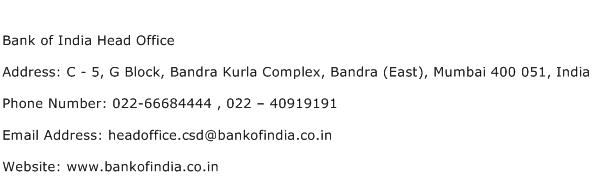 Bank of India Head Office Address Contact Number