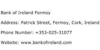 Bank of Ireland Fermoy Address Contact Number