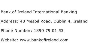 Bank of Ireland International Banking Address Contact Number