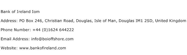 Bank of Ireland Iom Address Contact Number