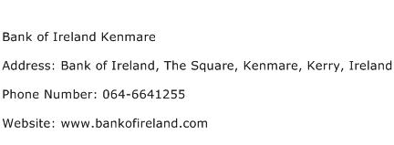 Bank of Ireland Kenmare Address Contact Number
