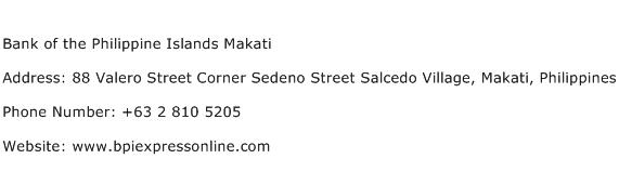 Bank of the Philippine Islands Makati Address Contact Number