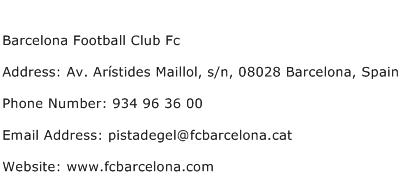 Barcelona Football Club Fc Address Contact Number
