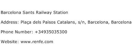Barcelona Sants Railway Station Address Contact Number