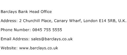 Barclays Bank Head Office Address Contact Number