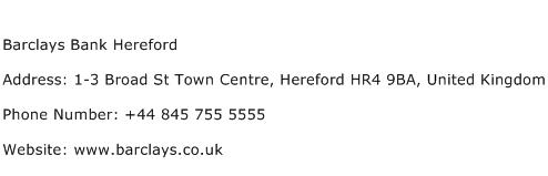 Barclays Bank Hereford Address Contact Number
