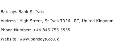 Barclays Bank St Ives Address Contact Number