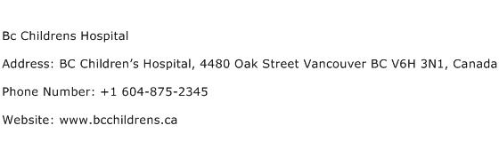 Bc Childrens Hospital Address Contact Number