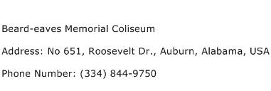 Beard eaves Memorial Coliseum Address Contact Number