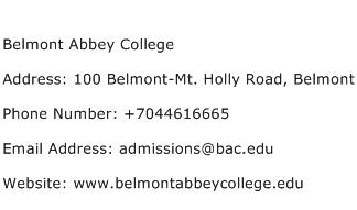 Belmont Abbey College Address Contact Number