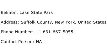 Belmont Lake State Park Address Contact Number
