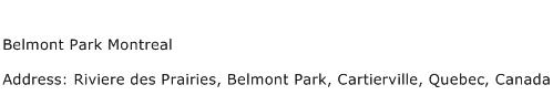 Belmont Park Montreal Address Contact Number