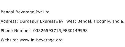 Bengal Beverage Pvt Ltd Address Contact Number