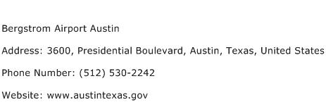 Bergstrom Airport Austin Address Contact Number