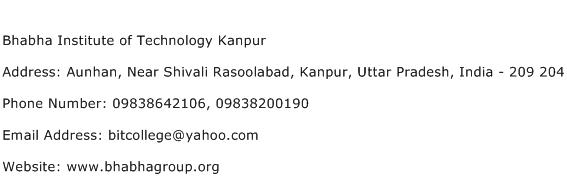 Bhabha Institute of Technology Kanpur Address Contact Number