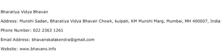 Bharatiya Vidya Bhavan Address Contact Number