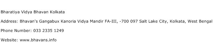 Bharatiya Vidya Bhavan Kolkata Address Contact Number