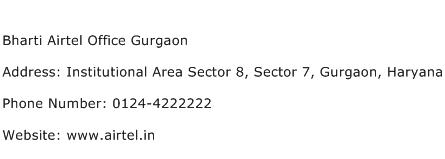bharti airtel office gurgaon address contact number of