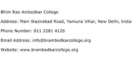 Bhim Rao Ambedkar College Address Contact Number