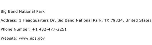 Big Bend National Park Address Contact Number