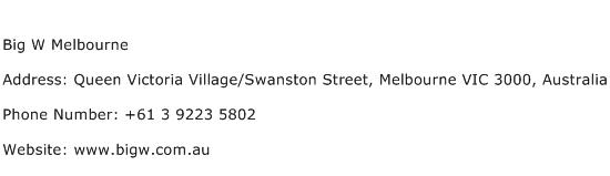 Big W Melbourne Address Contact Number