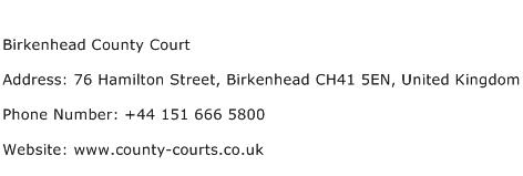 Birkenhead County Court Address Contact Number