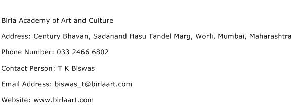 Birla Academy of Art and Culture Address Contact Number