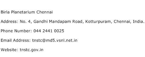 Birla Planetarium Chennai Address Contact Number