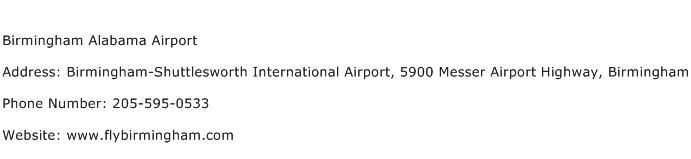 Birmingham Alabama Airport Address Contact Number