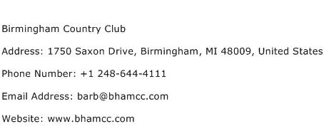 Birmingham Country Club Address Contact Number
