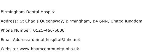 Birmingham Dental Hospital Address Contact Number